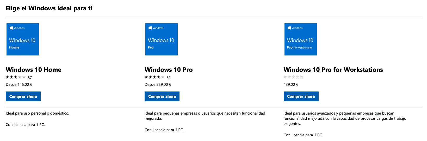 Cuanto cuesta Windows 10