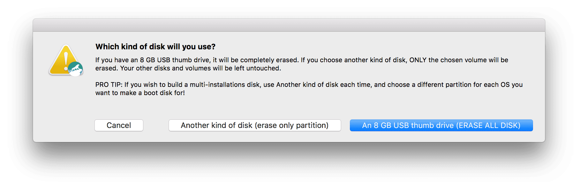Borrar el usb booteable para mac